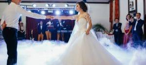 Atrakcja weselna w postaci ciężkiego dymu.